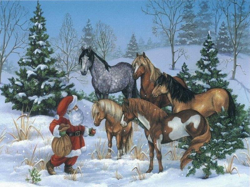 Открытки на новый год с лошадьми